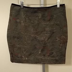 Anthropologie Meadow Rue Quilted Green Skirt - 6